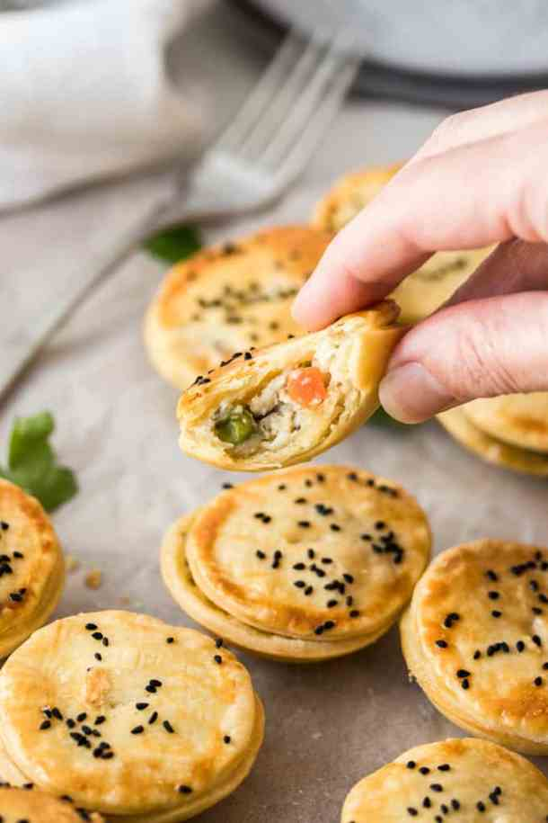 These Mini Chicken Pot Pies are an amazing but easy canape or finger food when entertaining. A chicken pot pie filling, big on flavour, encased in crisp shortcrust pastry.