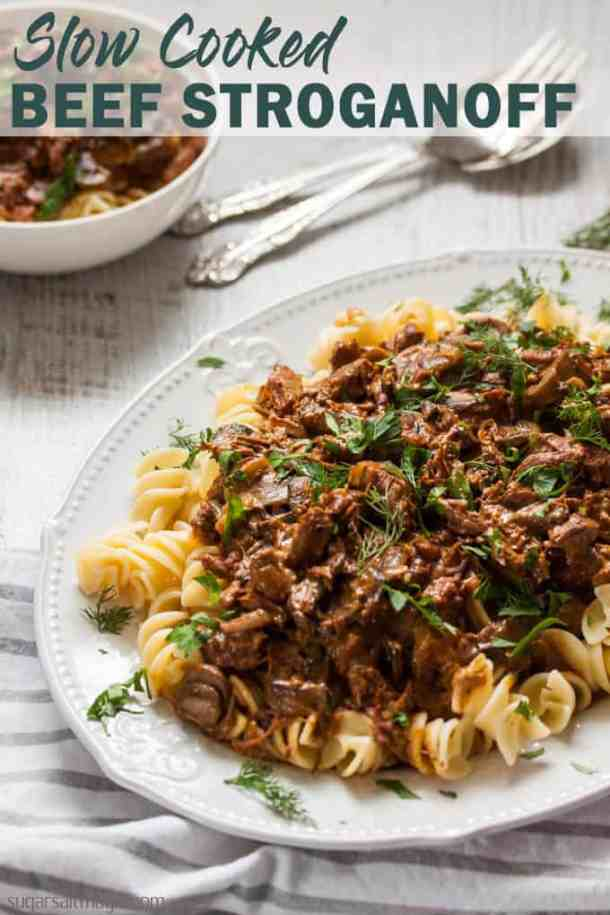 This Slow Cooker Beef Stroganoff recipe is an old classic stroganoff taken to new, melting heights. This is the best beef stroganoff you'll ever taste.