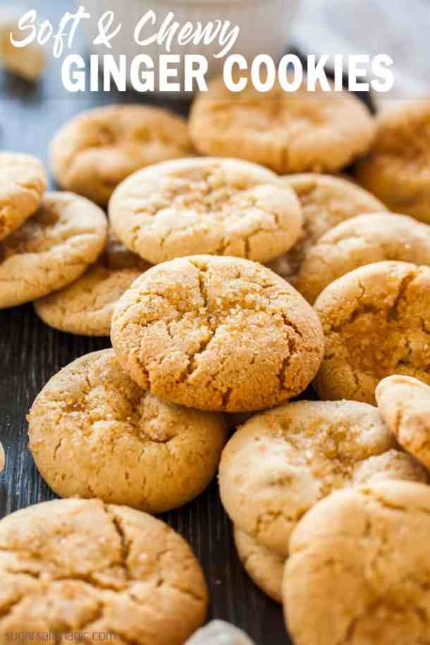 These perfectly Soft Chewy Ginger Cookies are filled with ground and candied ginger, then rolled in sugar right before they're baked. #sugarsaltmagic #gingernuts #gingercookies #cookies #christmascookies #christmasrecipes #fallrecipes #fallcookies #cookierecipes