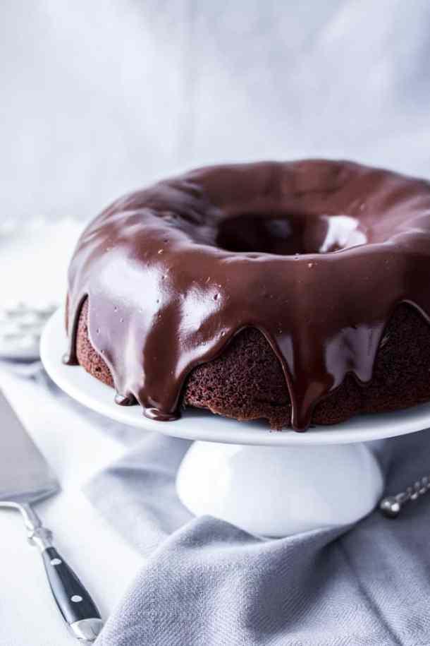 Chocolate Chip Bundt Cake with Cheesecake Filling is an easy chocolate bundt cake, filled with a gorgeous cheesecake filling and finished off with glorious dark chocolate ganache.
