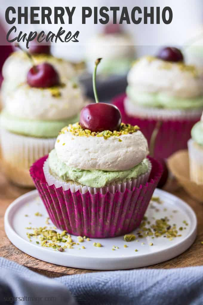 Cherry Pistachio Cupcakes are an amazing combination of pistachio cupcake, cherry compote centre and pistachio and vanilla buttercreams. All topped off with a gorgeous fresh cherry.