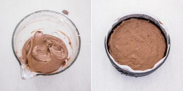 Chocolate cheesecake filling in a glass bowl and then leveled out inside a baking tin