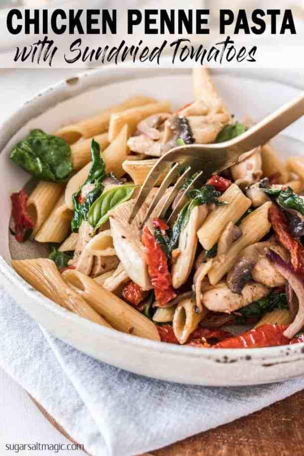 This Chicken Penne Pasta with a light creamy sauce and strips of sundried tomatoes makes for a flavourful and comforting meal for any night of the week.