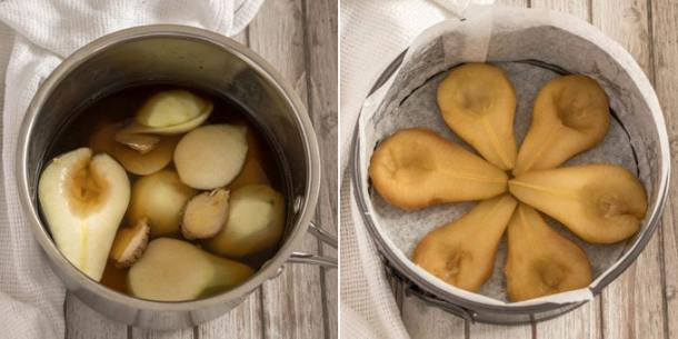 Poaching pears in a ginger syrup