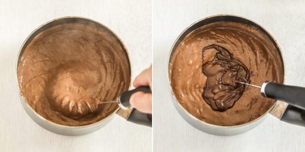 Mixing dark chocolate into chocolate custard