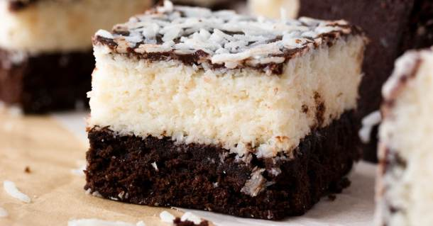 Close up of one single chocolate coconut brownie