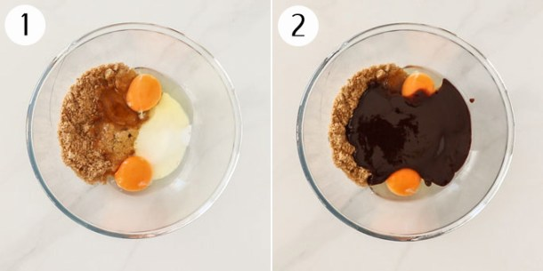Mixing bowls showing eggs, sugar and melted chocolate