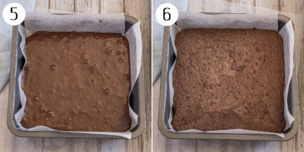 The brownie base before and after baking.