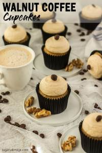 These Walnut and Coffee Cupcakes with Coffee Buttercream are amazing cupcakes filled with walnuts and coffee then topped with the most delectable coffee buttercream. #sugarsaltmagic #cupcakes #coffeecupcakes #coffeebuttercream