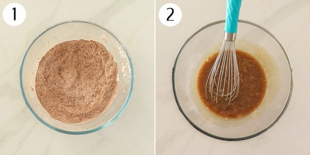Two bowls for mud cake batter - one with dry ingredients, one with wet ingredients.