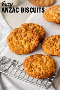 Crunchy on the edges and chewy in the middle this easy Anzac Biscuits recipe is an Aussie classic. These buttery, golden biscuits (aka cookies) can be thrown together and baked all in under 30 minutes.