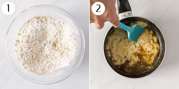 Mixing together ingredients for cookies in a bowl