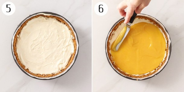 spread lemon curd over the top of a lemon cheesecake