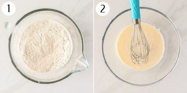 A bowl with dry baking ingredients and a bowl with wet baking ingredients