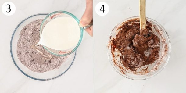 Adding milk to chocolate scone dough and mixing to a dark chocolate dough