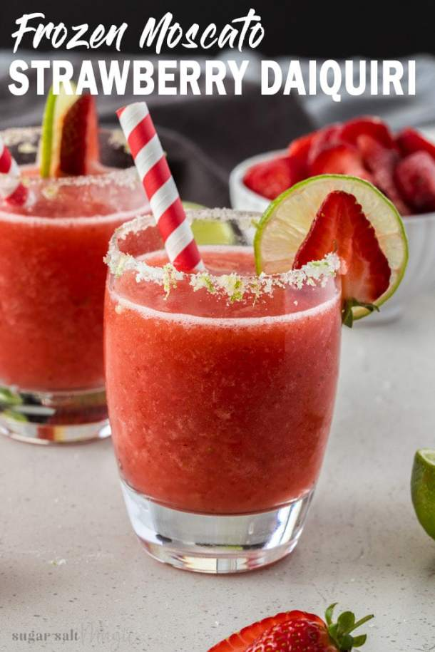 So refreshing on a warm day, this Frozen Moscato Strawberry Daiquiri is incredibly simple to make. Sweet, fruity and ice cold,this easy cocktail recipe is perfect when you're throwing a party too.