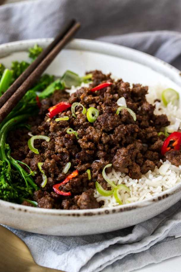 Closeup of a bowl of chilli beef mince over rice