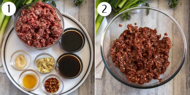 Ingredients for asian chilli beef mince stir fry on a plate, then mixed together in a bowl.