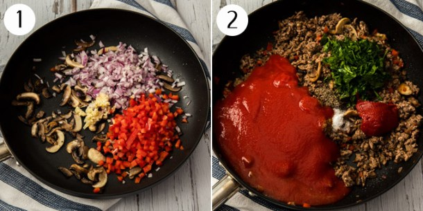 Ingredients of pastitsio meat sauce in a pan