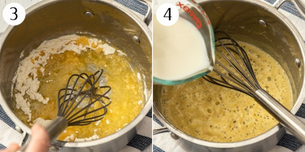 Pouring milk into butter and flour to make bechamel