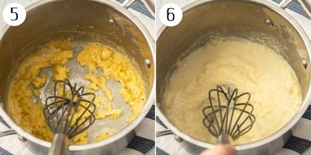 Whisking bechamel sauce in a pan