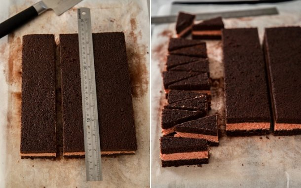 A image showing cake being cut into mini triangles