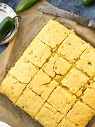 Overhead of jalapeño cornbread, sliced in to squares