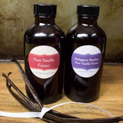two glass jars of homemade vanilla extract