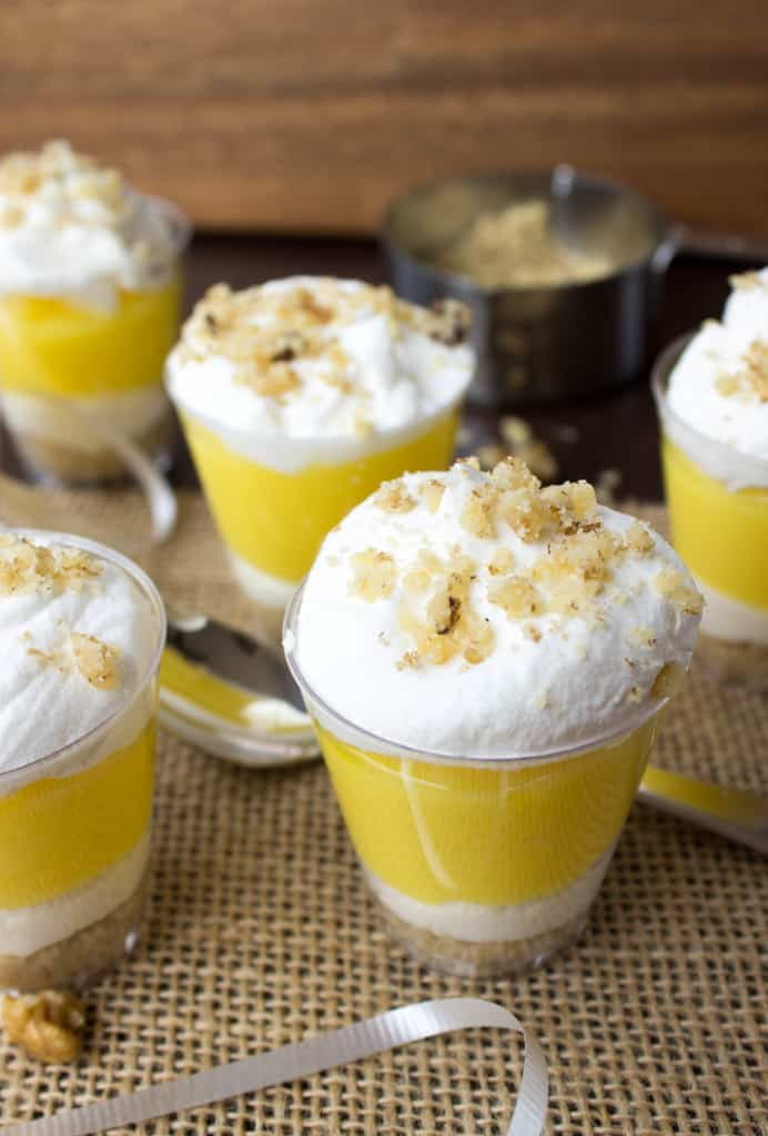 Lemon Lush Dessert in shot glasses