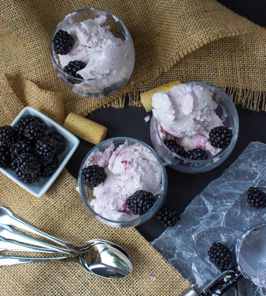 overhead of Moscato Blackberry Ice Cream in various glasses