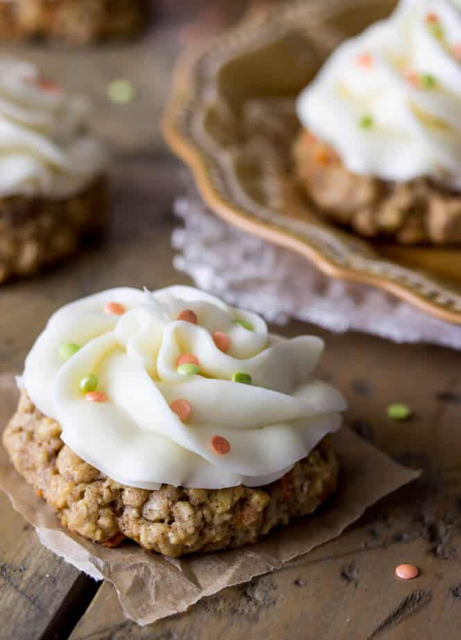 Carrot cake cookies with a cream cheese frosting topping! Much easier than making the whole cake! || Sugar Spun Run
