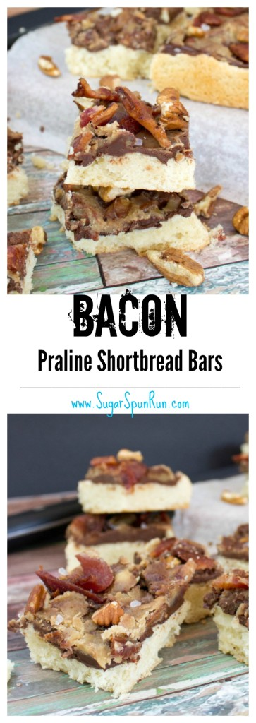 Bacon Praline Shortbread Bars--the ultimate dude dessert--SugarSpunRun