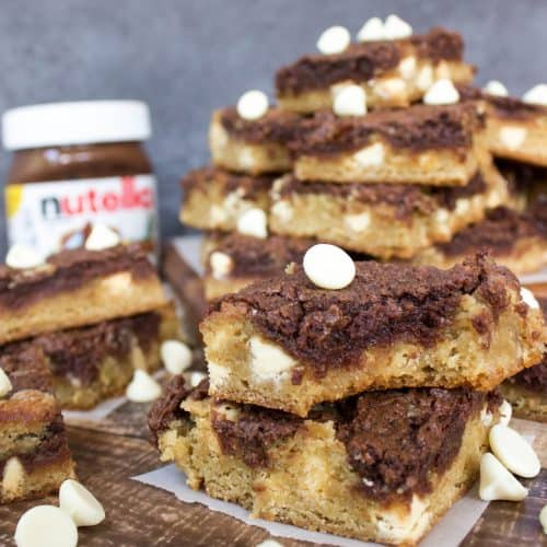 stack of nutella swirl blondies