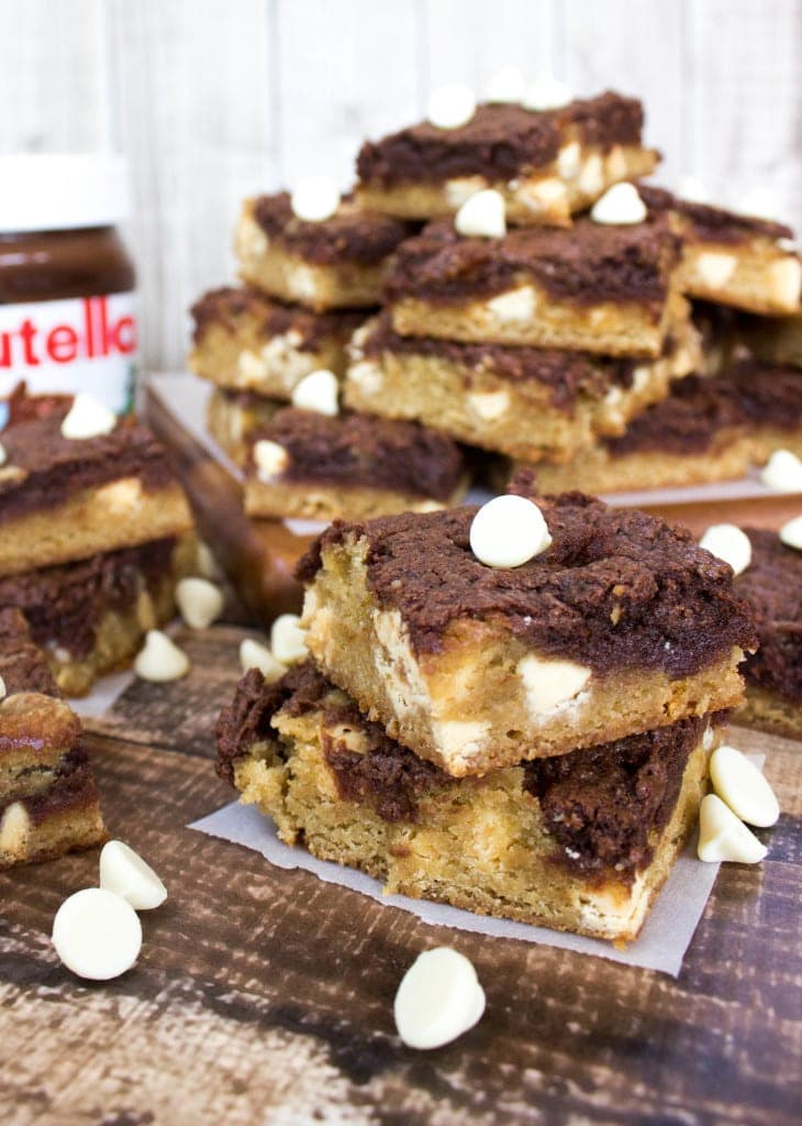 Nutella Swirl Blondie squares, stacked