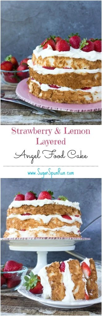 Strawberry and lemon layered angel food cake SugarSpunRun