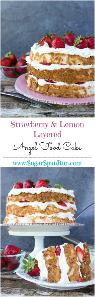 Strawberry & lemon layered angel food cake SugarSpunRun