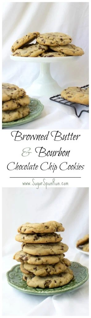 Big, bakery style browned butter and bourbon chocolate chip cookies || SugarSpunRun