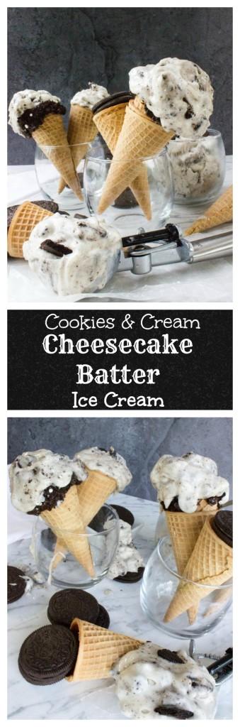Cookies and Cream Cheesecake Batter Ice Cream-- No ice cream maker required!