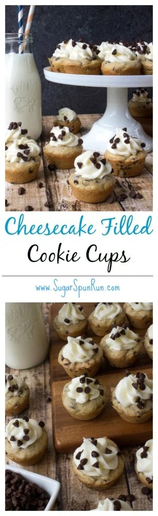 Soft chocolate chip cookie cups filled with easy cream cheese filling SugarSpunRun.com