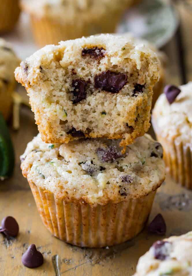 Chocolate Chip Zucchini Muffins -- look at that melty chocolate!