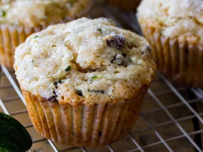 Chocolate Chip Zucchini Muffin with sugar on top