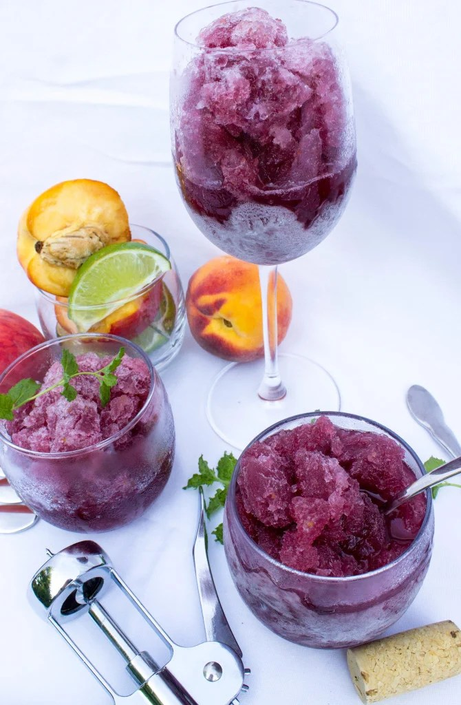 Peach Sangria Granita in wine glasses