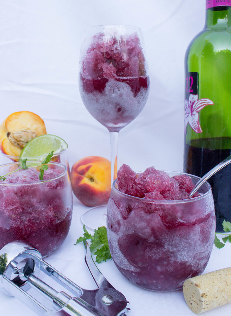 Peach Sangria Granita--a flavorful refreshing summer slushy-like treat