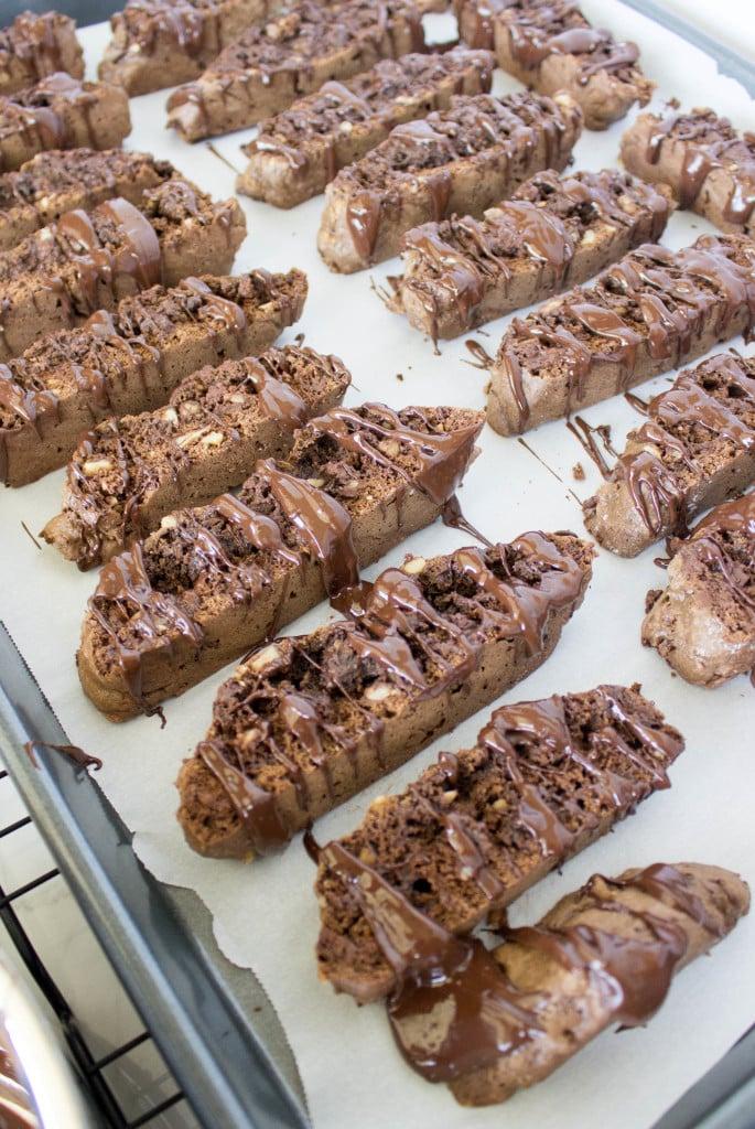 biscotti slices on baking sheet