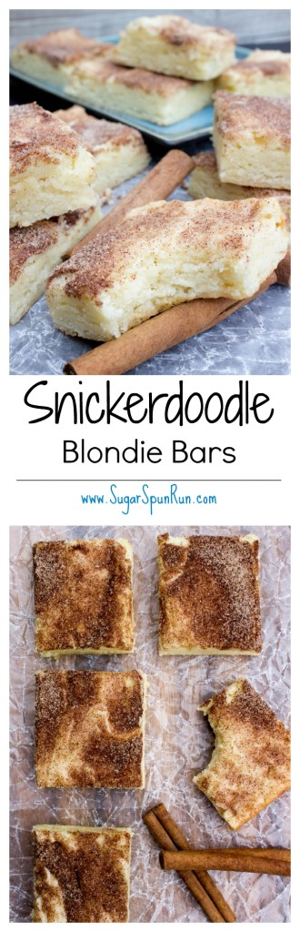 Snickerdoodle Blondie Bars--tastes just like the cookie! --SugarSpunRun