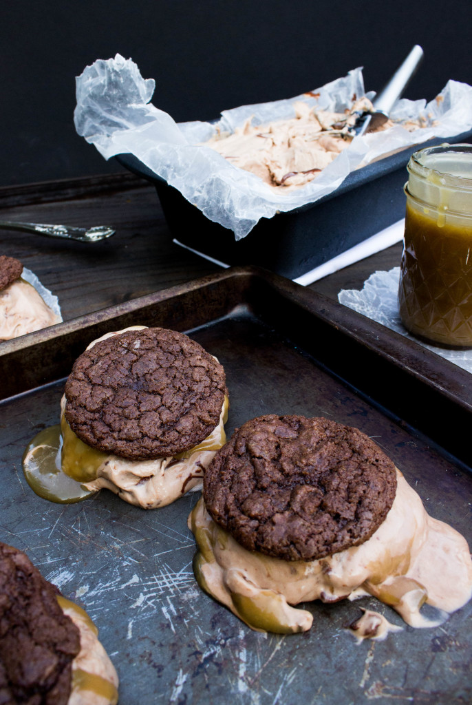 Brownie Cookie Nutella Ice Cream Sandwiches with Salted Caramel
