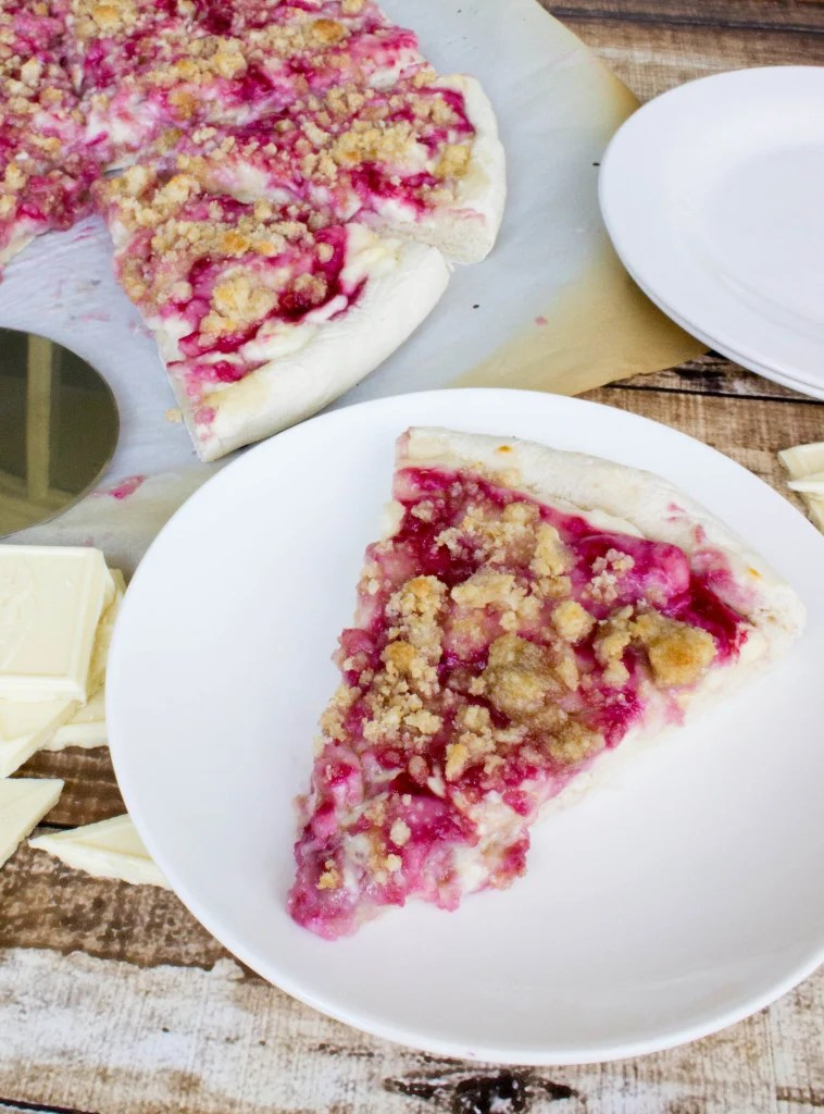 Raspberry Cheesecake White Chocolate Dessert Pizza with Streusel Crumb Topping
