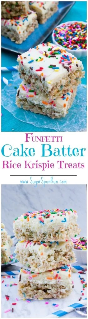 Funfetti Cake Batter Rice Krispie Treats with a Cake Batter Fudge Frosting