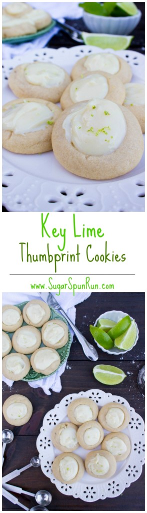 Key Lime Thumbprint Cookies-- Buttery soft shortbread cookies with a key lime filling SugarSpunRun