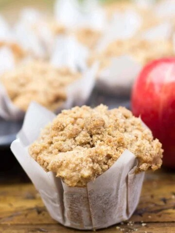 muffin with white parchment paper liner